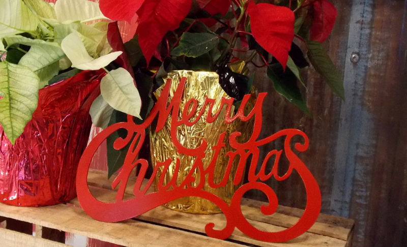 Merry Christmas Steel Sign Decor