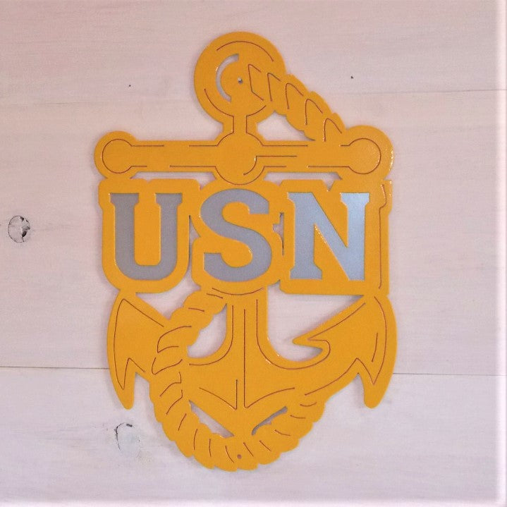 Gold and Silver U.S. Navy Anchor Steel Decor