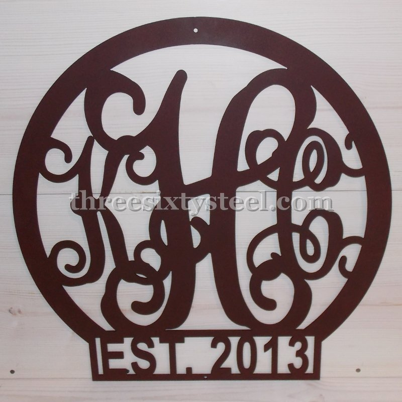 3 Letter Monogram Initial Round Steel Name and Date Sign