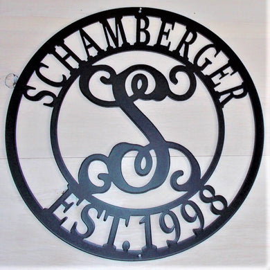 Monogram Round Steel Name and Date Sign