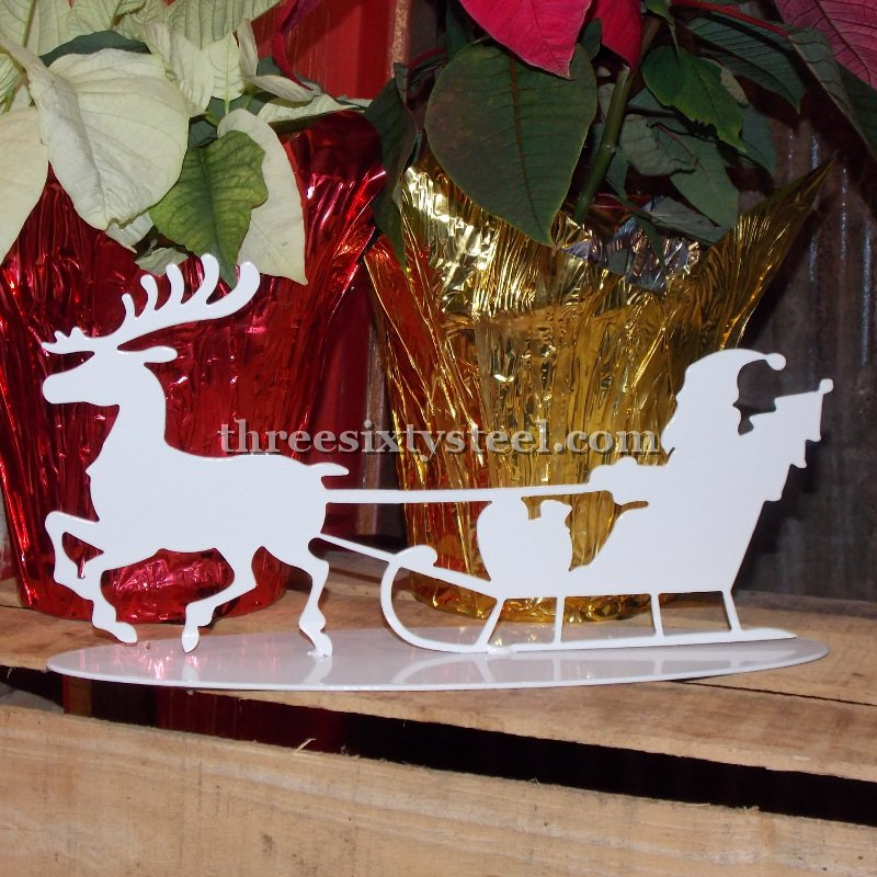 Santa, Sleigh and Reindeer Steel Decor