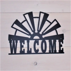 Windmill Blades Steel Welcome Sign from 360-STEEL