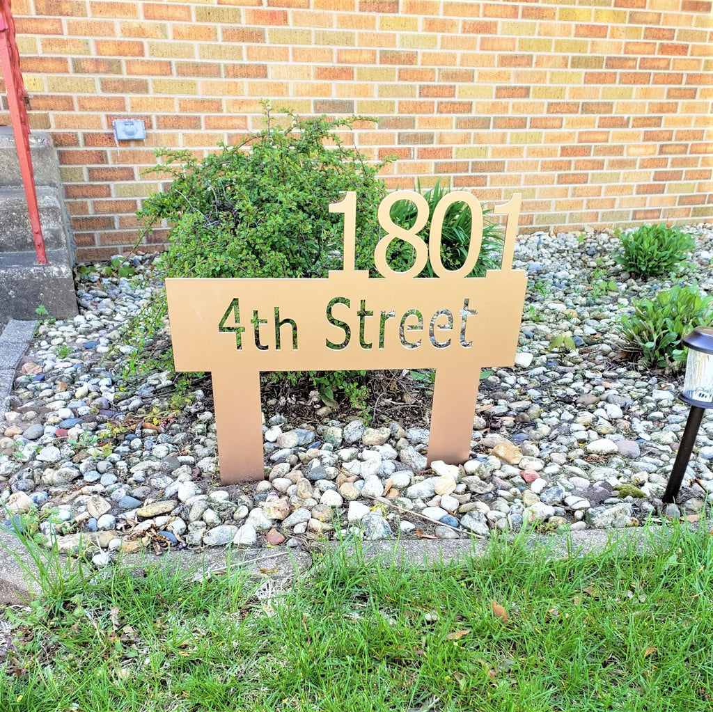 image of classic address sign stake