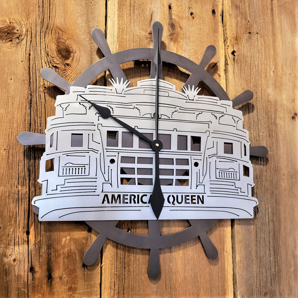 image of American Queen Stern Wheeler Captains Wheel Custom Clock