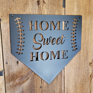 BASEBALL HOME SWEET HOME METAL SIGN