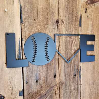BASEBALL LOVE METAL SIGN