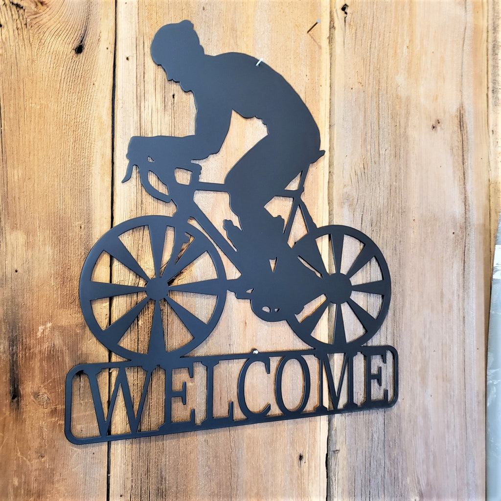 Bicyclist Steel Welcome Sign