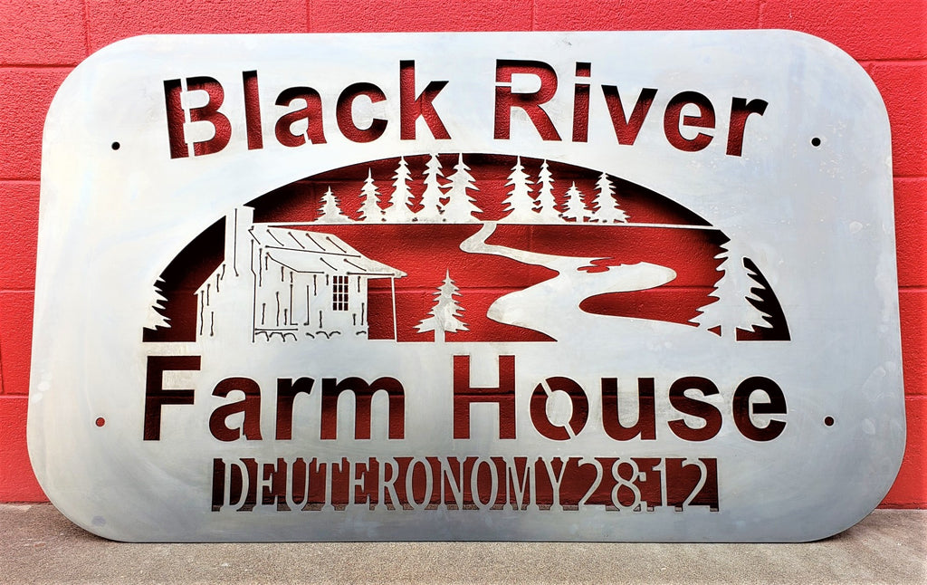 Custom Driveway Entrance Black River Farm House Sign