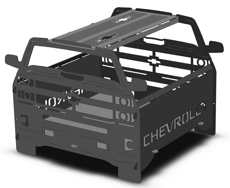 image of Chevy 4x4 Fire Pit Portable Collapsible FirePit Grill