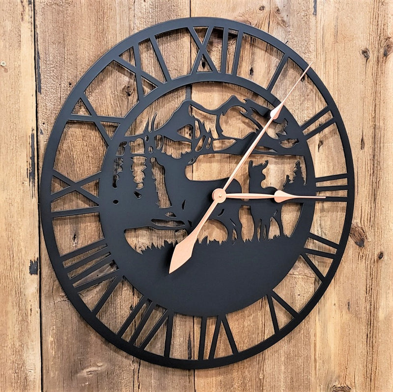 Extra Large Deer Mountain Scene Roman Numeral Custom Clock