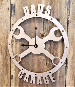 Image of Dad's Garage or Personalized Crossed Wrenches Custom Clock