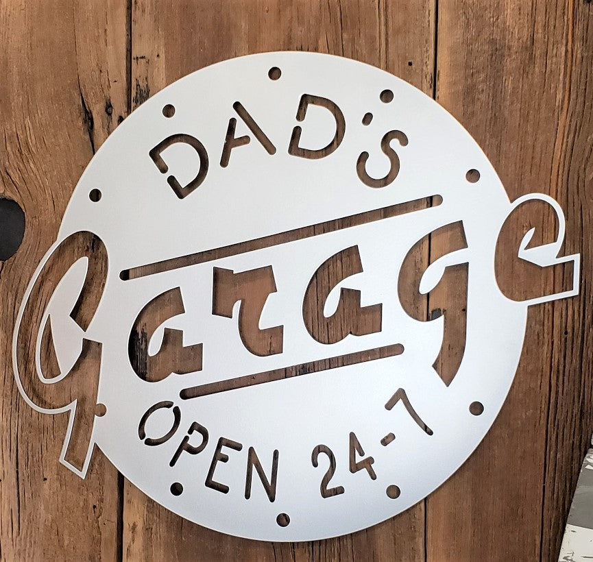 image of Personalized Garage Open 24 Hours Steel Sign
