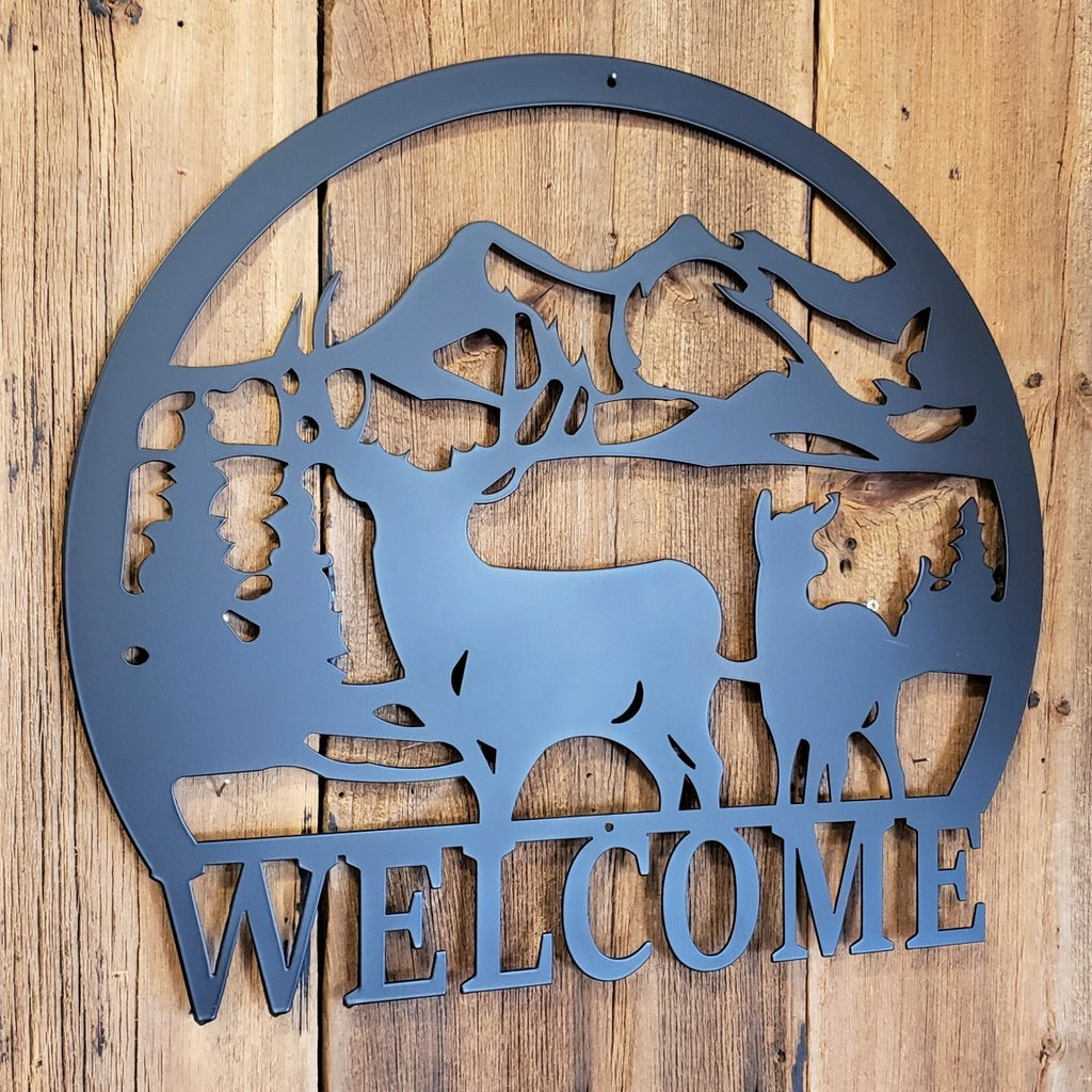 Deer Mountain Scene Welcome Sign