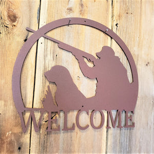 IMAGE OF Duck Hunter Scene Steel Name Sign