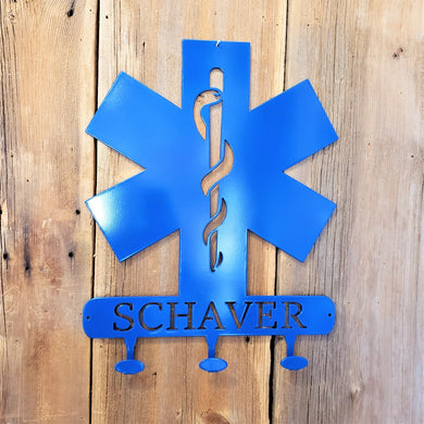 image of EMS Star of Life Coat Hook Name Sign