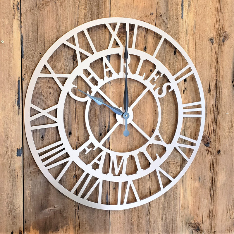 image of Extra Large Family Name Roman Numeral Custom Clock