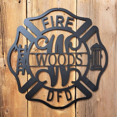 image of Fire Department Maltese Cross Monogram Name Sign