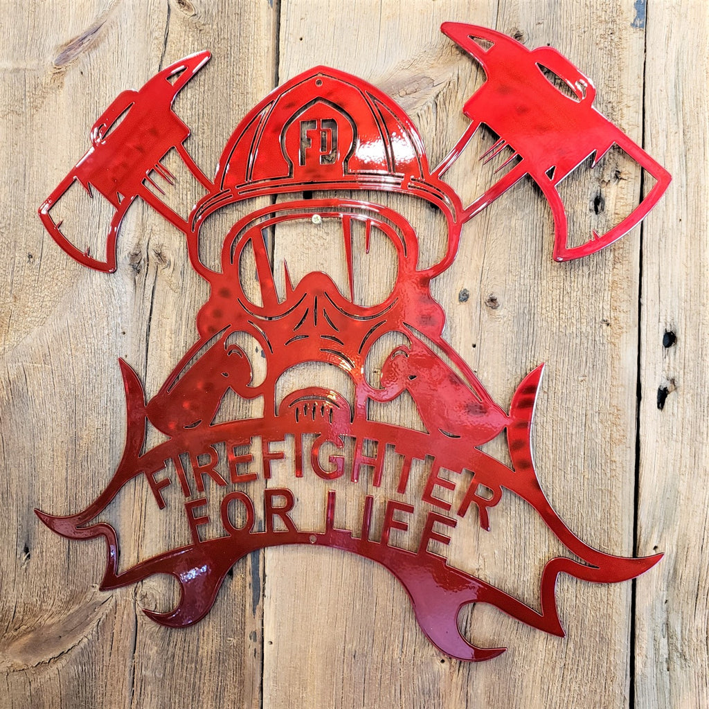 image of Firefighter for Life Helmet - Axes Steel Sign