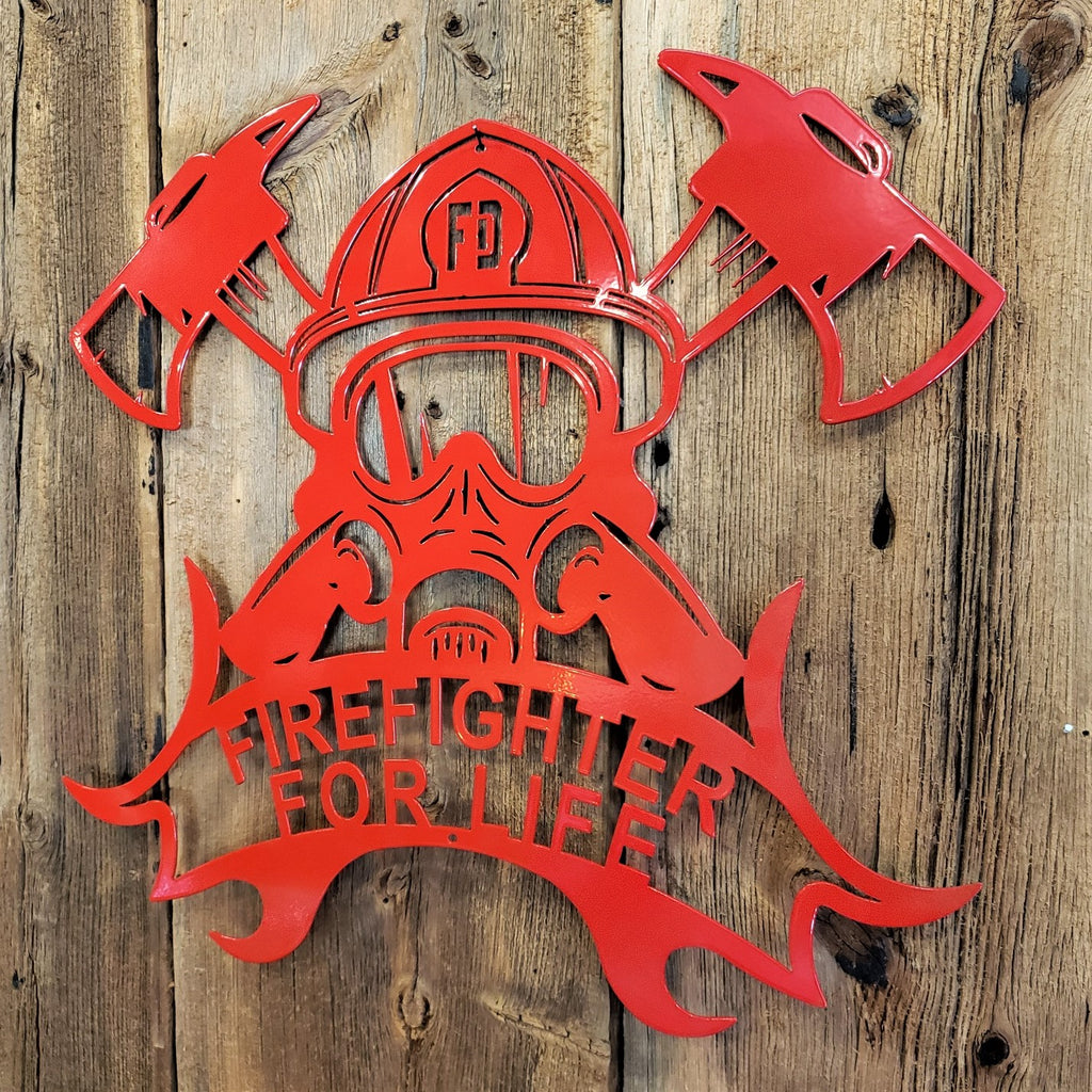 Firefighter for Life Helmet - Axes Steel Sign
