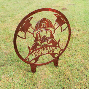 image of Firefighter for Life Helmet - Axes Round Steel Sign