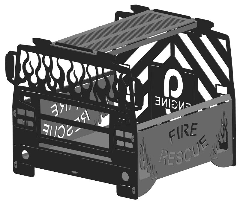 image of Fire Truck Fire Pit Portable Collapsible FirePit Grill