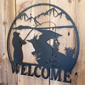 Fishing Mountain Stream Scene Welcome Sign