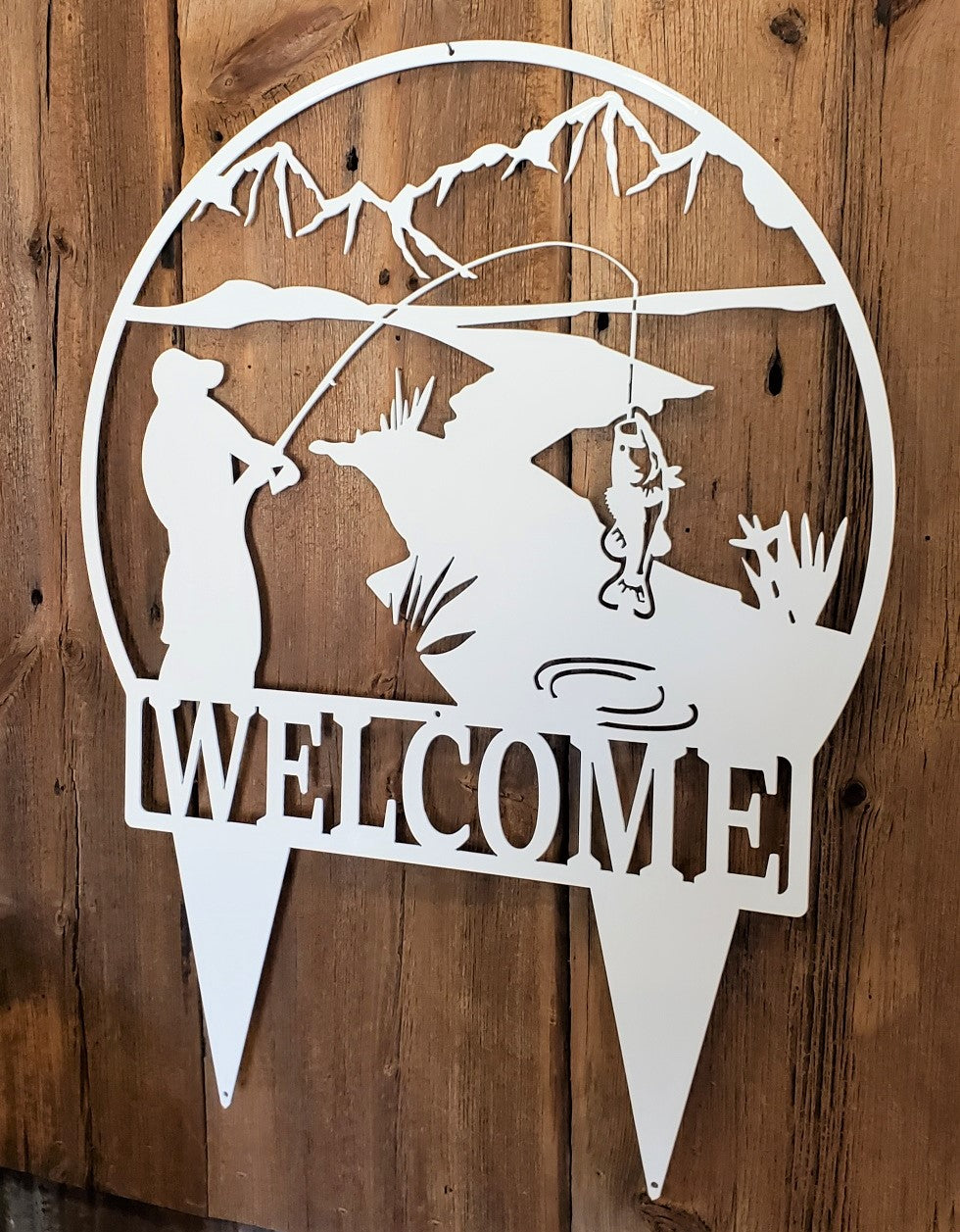 Fishing Mountain Stream Scene Welcome Yard Sign