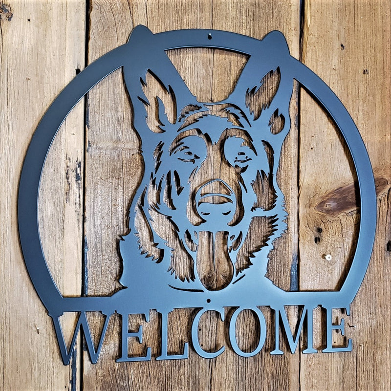 German Shepherd Bust Welcome or Name Sign