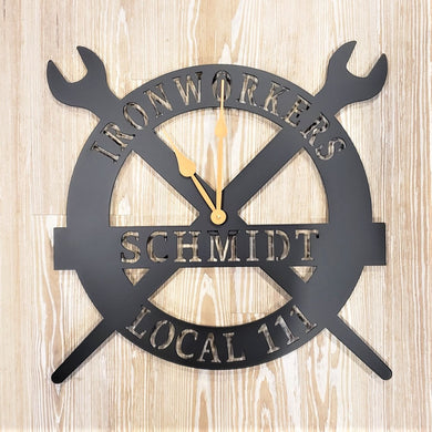 Iron Workers Steel Name Sign Clock