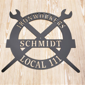 image of Iron Workers Steel Name Sign