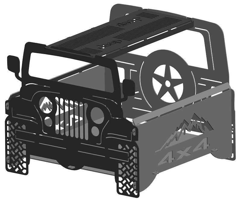 image of Jeep CJ Fire Pit Offroad Portable Collapsible FirePit Grill