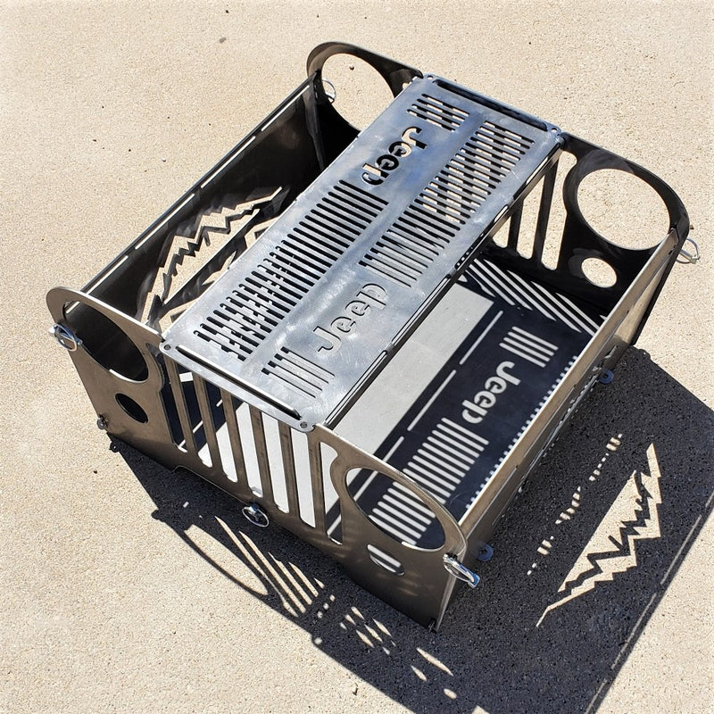 Jeep CJ Style Portable Collapsible Fire Pit Grill