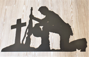 Kneeling Praying Soldier Full Size Metal Sign