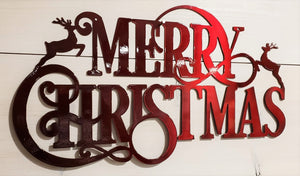 Merry Christmas Reindeer Steel Decor Sign