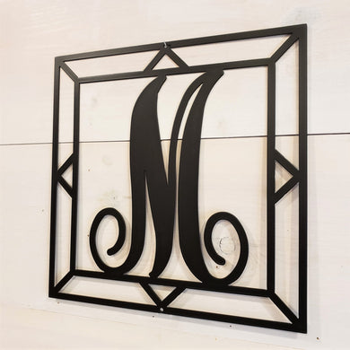 Square Decorative Monogram Initial Steel Sign