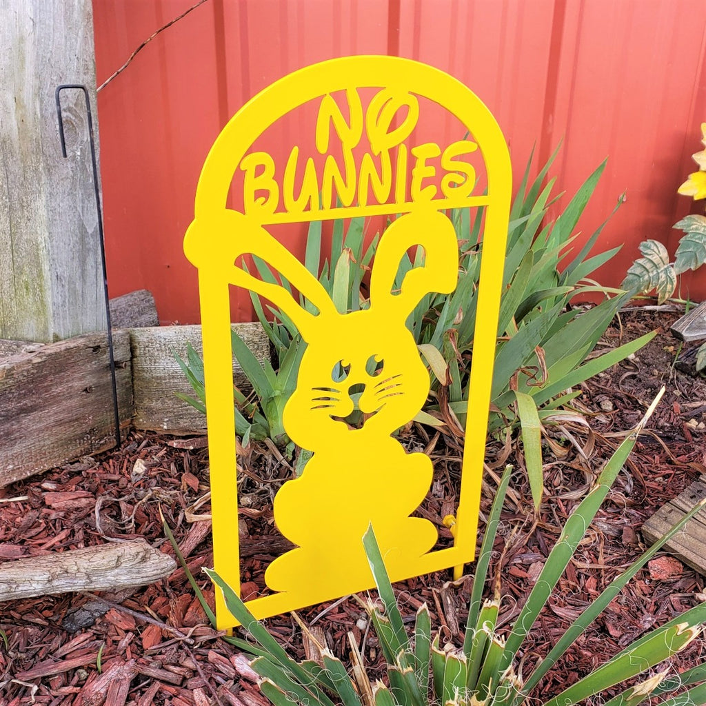 image of No Bunnies Garden Decor Metal Sign