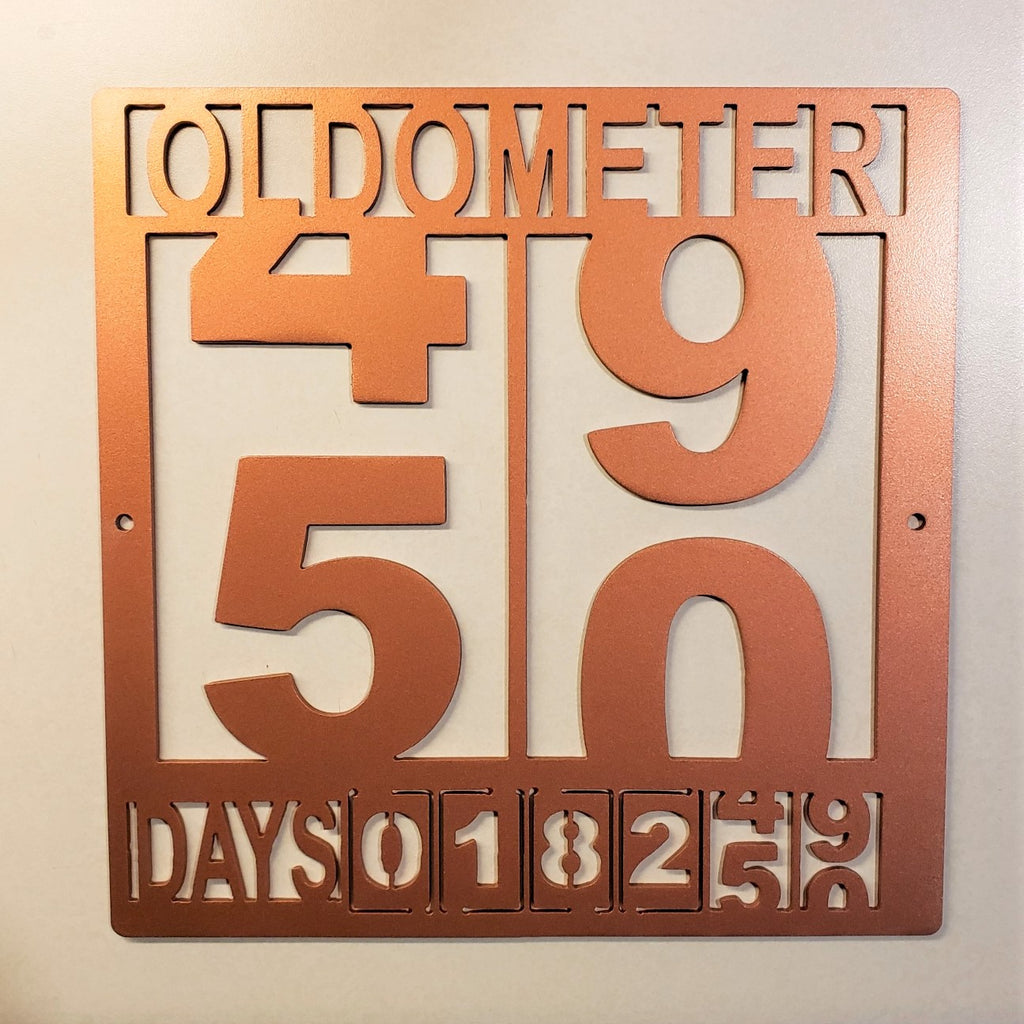 OLDOMETER 50th Birthday Steel Sign