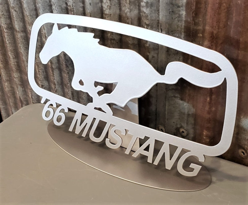 image of Mustang Pony Corral Grill Emblem Year Steel Sign