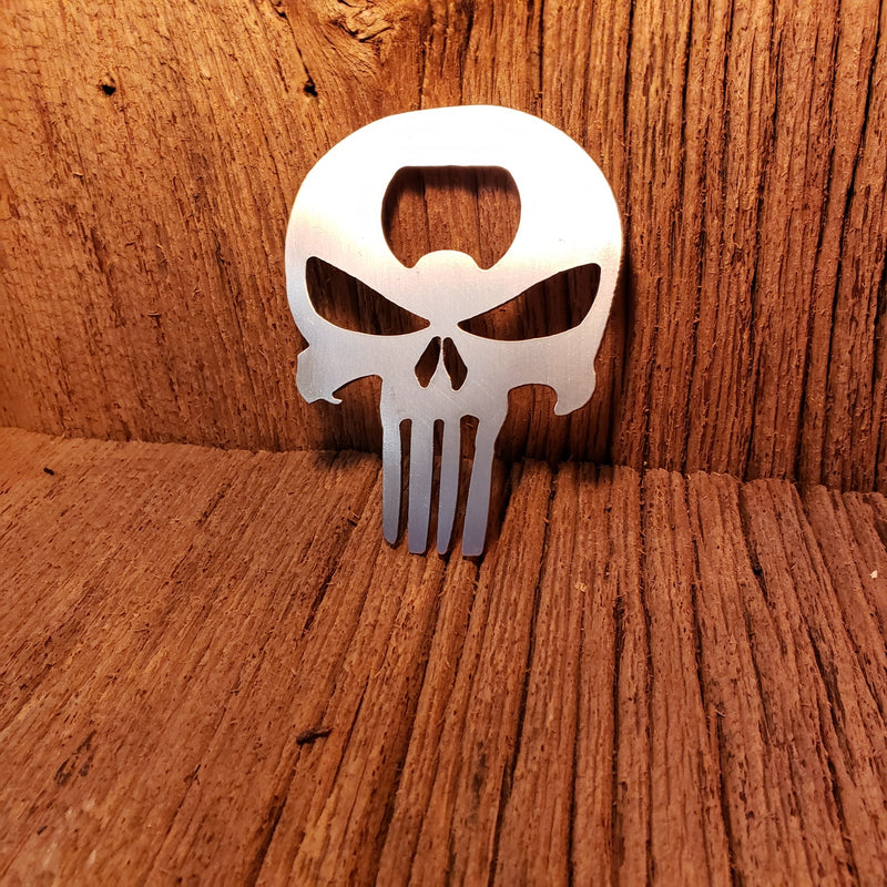image of punisher skull steel bottle opener