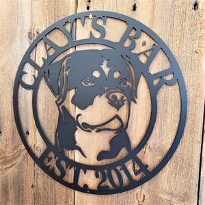 Rottweiler Personalized Bar Sign