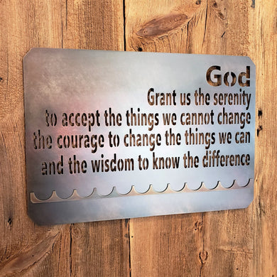 image of Serenity Prayer Sobriety Medallion Display metal sign