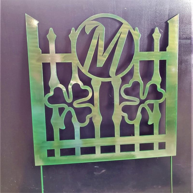 Monogram Shamrock Fence Panel Steel Garden Decor