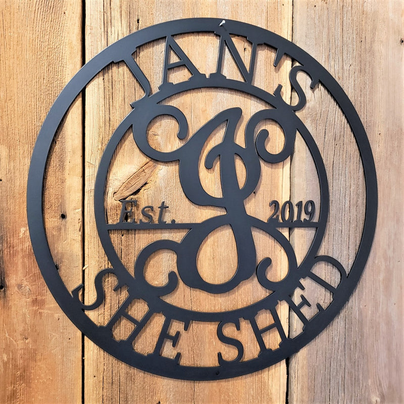 image of Custom She Shed Name Monogram Established Date Steel Sign