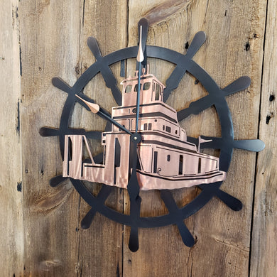 image of Ships Wheel Custom Clock with Tow Boat