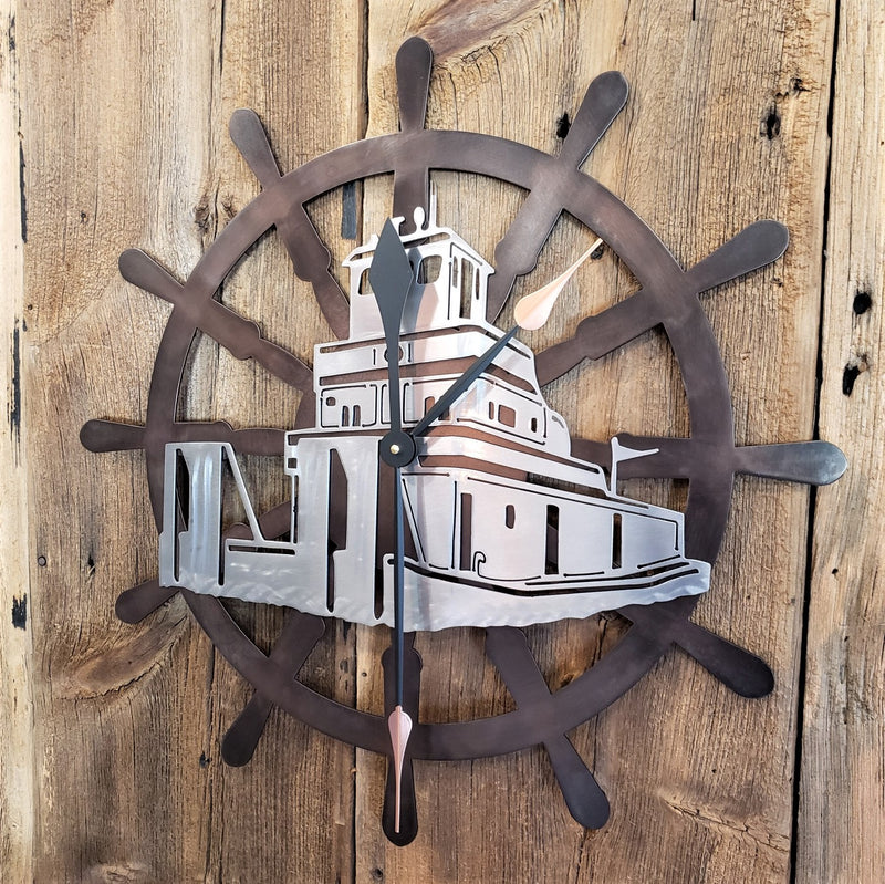 Captains Wheel Custom Clock with Tow Boat