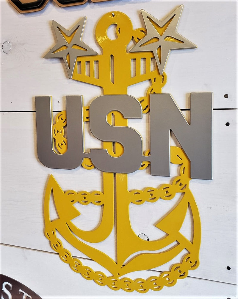US Navy E9 Anchor Emblem Steel Sign