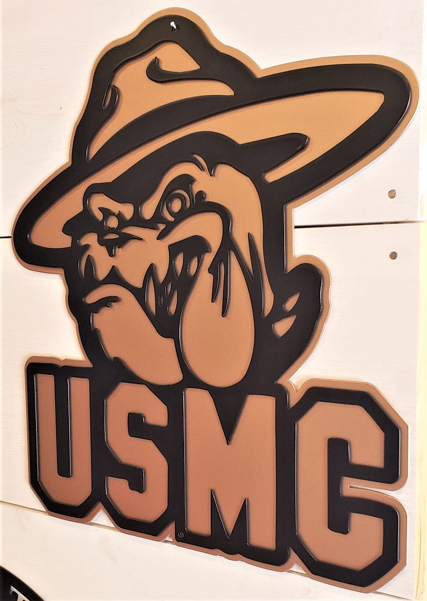 Black and Gold/Copper U.S.M.C. Devil Dog Emblem Steel Decor