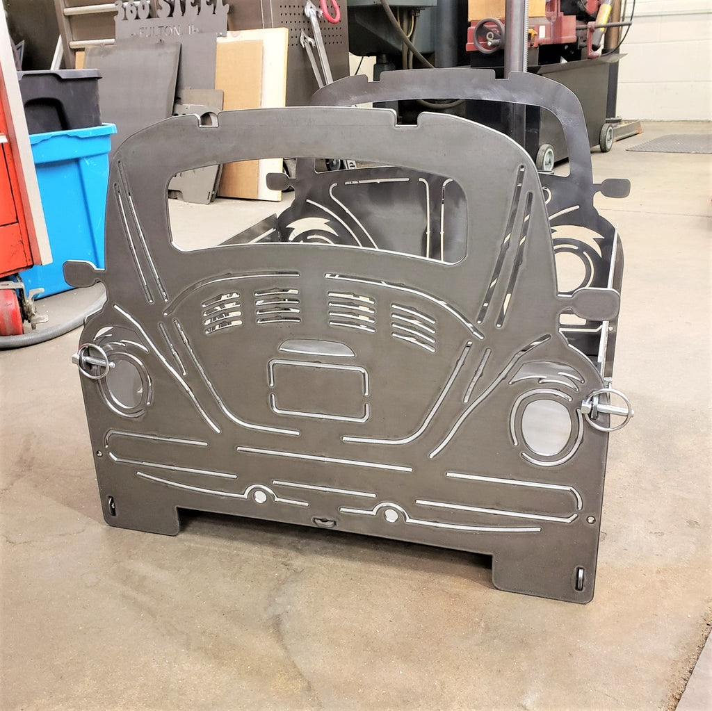 image of VW Bug Portable Collapsible Fire Pit Grill Back