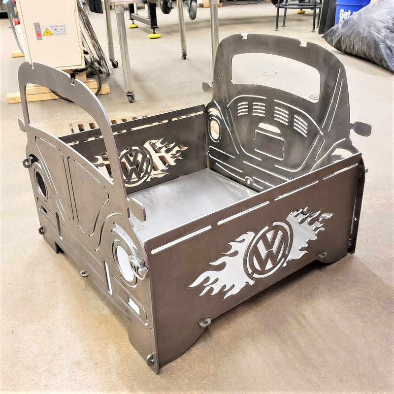 image of VW Bug Portable Collapsible Fire Pit Grill side