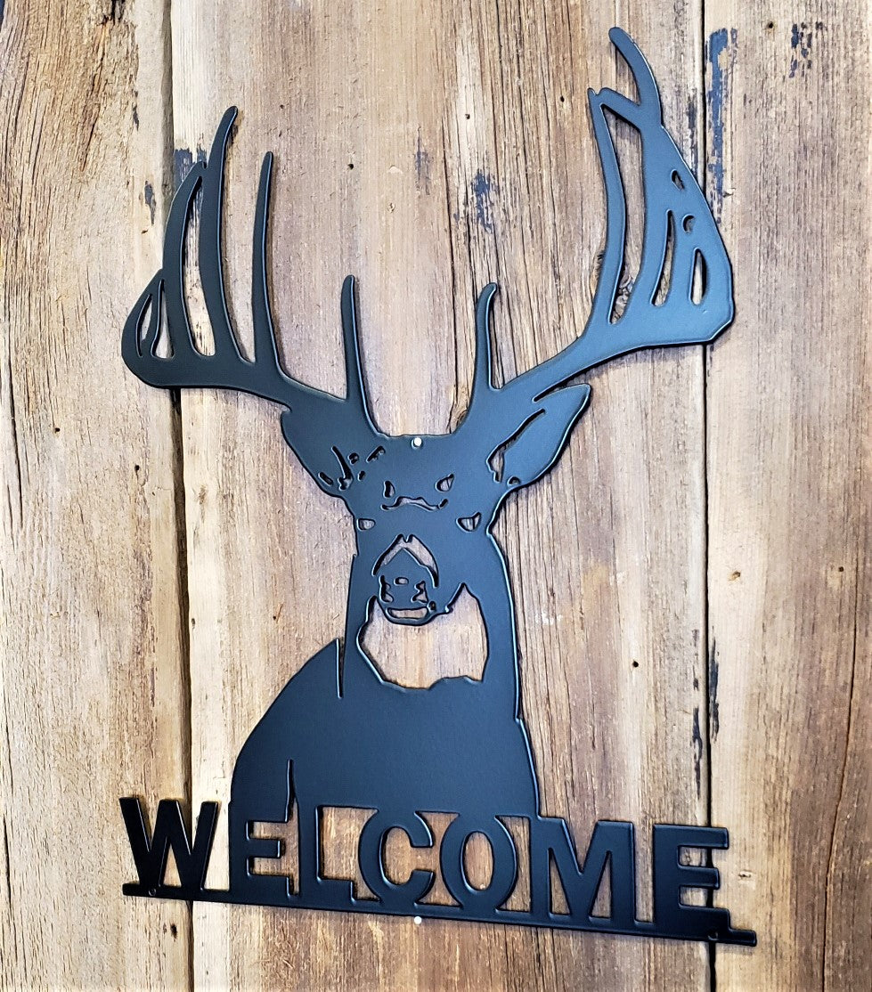 Buck Deer Welcome Steel Sign